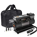 TACKLIFE Tire Inflator ACP1C, DC 12V Portable Air Compressor Pump, Digital Tire Pump with Gauge, LED Flashlight, 4 Nozzle Adaptors, and Extra Fuse - 2 Years Warranty