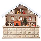 WHAT ON EARTH Lighted Santa's Workshop Advent Calendar - Wooden