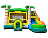 TentandTable Tropical Wet Dry Modular Bounce House Tunnel Front, Slide Climbing Wall Combo, Commercial Grade Inflatable, Blower Included