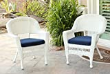 Jeco W00206-C_2-FS011-CS Wicker Chair with Blue Cushion, Set of 2, White/W00206-