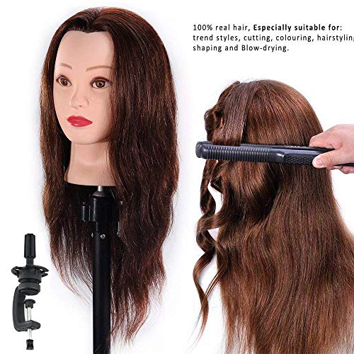 HAIREALM Mannequin Head 100% Human Hair Hairdresser Training Head Manikin Cosmetology Doll Head (Table Clamp Stand Included)