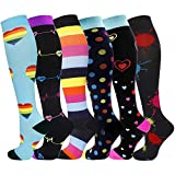 6 Pairs Graduated Medical Compression Socks for Women Men 20-30mmhg Knee High Fun Stockings for Running Sports Athletic Nurse Travel Pregnancy Swelling (Assorted 1, S/M)