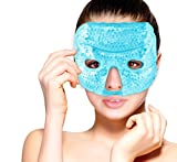 Hot and Cold Therapy Gel Bead Facial Eye Mask by FOMI Care | Ice Mask for Migraine Headache, Stress Relief | Reduces Eyes Puffiness, Dark Circles | Fabric Back | Freezable, Microwavable (Blue)