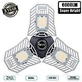 Garage Light 6000 Lm Deformable LED Garage Ceiling Lights 60W CRI 80 Led Shop Lights for Garage 3 Adjustable Panels Utility Led Garage Lighting Workshop Light(60W Standard)