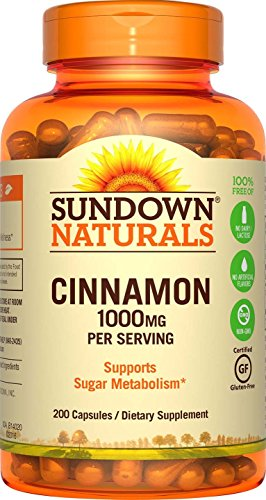 Sundown Naturals Cinnamon 1000 mg, 200 Capsules