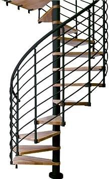 Dolle Oslo 55 D Horizontal Rail Steel Spiral Stair Kit 99 H To | Black Horizontal Stair Railing | Metal | Linear | Interior | Wood | Exterior
