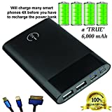 Rapid Charge 3x Backup Battery | Power Bank for Phones and Mobile Devices (Black 6000 mAh)