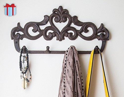 "Decorative Cast Iron Wall Hook Rack - Vintage Design Hanger with 4 Hooks - For Coats, Hats, Keys, Towels, Clothes, Aprons etc |Wall Mounted - 13.6 x 7""- With Screws And Anchors By Comfify"