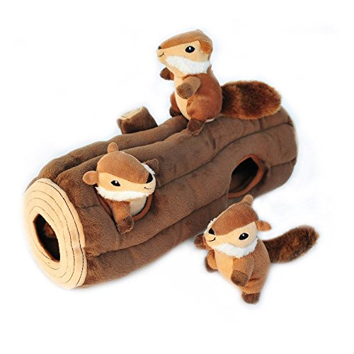 ZippyPaws - Woodland Friends Burrow, Interactive Squeaky Hide and Seek Plush Dog...