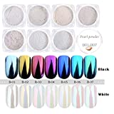 PrettyDiva 7 Jar Pearl Powder Mirror Effect Chrome Nail Powder Metallic Nail Manicure Pigment