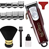 Wahl Professional 5-Star Cord/Cordless Magic Clip #8148 - Great for Barbers and Stylists - Precision Cordless Fade Clipper Loaded with Features - with Bonus Neck Duster (Burgundy)
