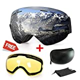 Extra Mile Ski Goggles, Anti-Fog UV Protection Winter Snow Sports Snowboard Goggles with Interchangeable Spherical Dual Lens for Men Women & Youth Snowmobile Skiing Skating (Black Frame)