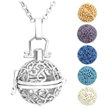 JOVIVI Antique Silver Flower Aromatherapy Essential Oil Diffuser Necklace Locket Pendant with 5 Dyed Lava Stone Beads