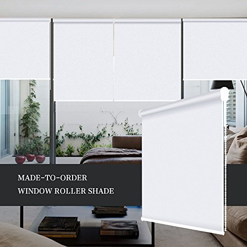 ZY Blinds Blackout Roller Shades Custom Made Any Size from 20-78inch Wide UV Protection Enery Saving Block 100% Light Window Shades Blinds for Home, Hotel, Club, Restaurant Custom Size, White