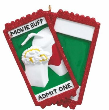 Movie Buff Lover Personalized Christmas Tree Ornament-Free Personalization and Gift Bag Included