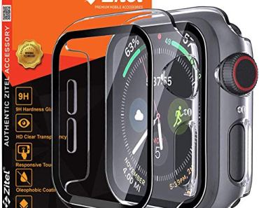 Zitel® Transparent Hard PC Case Bumper Cover with Built-in 9H Tempered Glass Screen Protector Compatible with Apple Watch 40mm Series 6, SE Series, 5 Series, 4 Series Edge-to-Edge Smart Defense – Clear