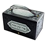 Quality Judaica Faux Leather Esrog Box with Handle and Decorative Metal Plaque fo Sukkot