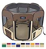 EliteField 2-Door Soft Pet Playpen, Exercise Pen, Multiple Sizes and Colors Available for Dogs, Cats and Other Pets (52' x 52' x 32'H, Brown+Beige)