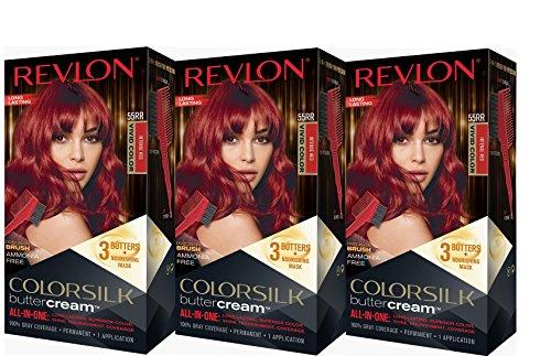Revlon Colorsilk Buttercream Hair Dye, Vivid Intense Red, 3 Count