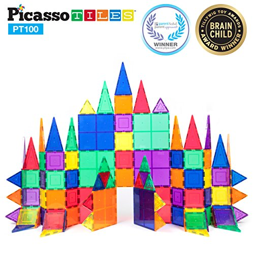 PicassoTiles 100 Piece Set 100pcs Magnet Building Tiles