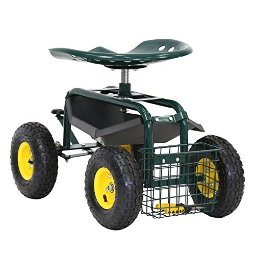 Peach Tree Rolling Scooter Garden Stool Cart with Tool Storage Basket & Swivel Seat Heavy Duty Gardening Planting