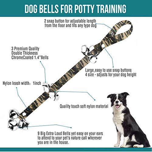 2 Pack Dog Doorbells Premium Quality Training Potty Great Dog Bells Adjustable Door Bell Dog Bells for Potty Training Your Puppy The Easy Way - Premium Quality - 7 Extra Large Loud 1.4 DoorBells 2