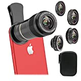 Vorida 5 in 1 Cell Phone Camera Lens, 12X Telephoto Lens + 198° Fisheye Lens+ 0.6X Wide Angle Lens+ 15X Macro Lens+ CPL for iPhone X 8 7 6 Plus, Samsung, etc