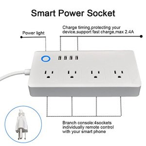 WiFi Smart Power Strip Socker, BOSCHENG Smart Multi Outlets Strip Oulet Surge Protector with 4 Plugs and 4 USB Ports, Work with Alexa Echo & Google Assistant