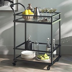 Nathan James Carter Rolling Bar and Serving Cart 2-Tiered Glass and Metal, Black/Brown
