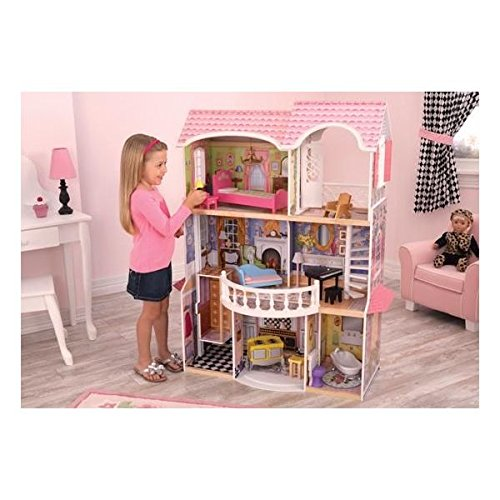 KidKraft Storybook Mansion Three-Story Wooden Dollhouse for 12' Dolls with 14Piece Accessories