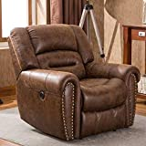 ANJ Electric Recliner Chair W/Breathable Bonded Leather, Classic Single Sofa Home Theater Recliner Seating W/USB Port, Nut Brown