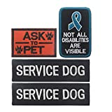 GrayCell Dog Pack Hound Travel Hiking Backpack Saddlebags/Morale Service Dog Patches for Pet Tactical K9 Harness Vest (5)