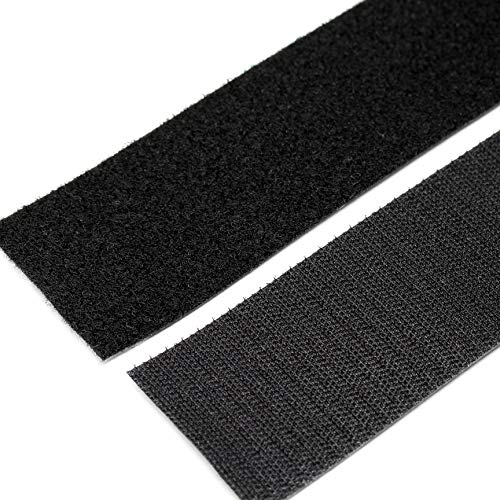 Strenco 2 Inch Self Adhesive Hook and Loop - 5 feet - Black Sticky Back Tape - Fastener