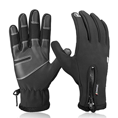 Winter Gloves,Anqier Touch Screen Windproof Warm Hand Gloves Cycling Gloves for Men & Women (Black, Large)