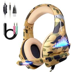 51CR0KBy3oL - Comfortable PS4 Gaming Headset, Professional 3.5mm Headset with Rotatable, Noise Reduction Mic for PS4, Nintendo Switch,Xbox One, PC, Laptop, Mac,Smart Phone(Over-Ear And LED Lighting) (Camouflage)