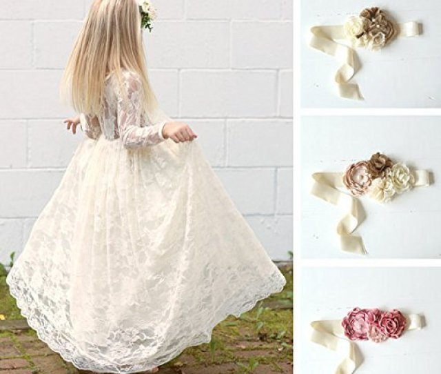 b63996326a3 Pink High Low Long Sleeve Flower Girl Dresses For Wedding Lace Applique  Ruffles Girls Pageant Gowns Sweep Train Children Prom Party Dresses Tulle  Flower