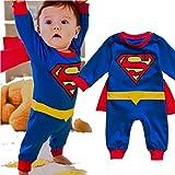 VogueFashion Baby Superhero Jumpsuit with Removable Cape (18-24 Months, Superman 1)