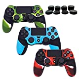 PS4 Controller Silicone Cover Skins, BRHE 3 Pack DualShock 4 Protector Case Accessories Set for Sony Playstation 4/PS4 Slim/PS4 Pro Wireless/Wired Gamepad Joystick with 8 FPS Thumb Grips Caps