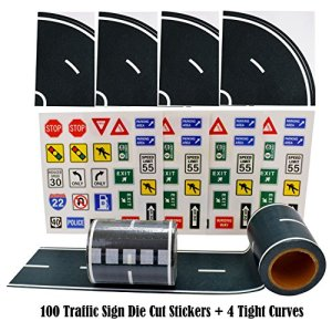 Fun Road Tape for Toy Cars, 2 Rolls of 33'x2.4″, Bonus 100 Die Cut Traffic Sign Stickers and 4 Curves, Perfect to Keep Your Kids Away from Screens, Develop Their Imagination and Memory, Play and Learn 51CTJTAXvXL