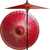 Oriental-Decor 7 Foot Tall Hand-Painted Patio Umbrella Siamese Dream in Oxblood Red, Handcrafted Bamboo Dual-Height Market Umbrella with Hardwood 2-Piece Pole
