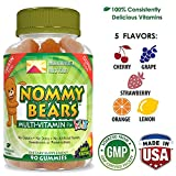 NOMMY BEARS Vegetarian, Gelatin-Free Multivitamin Gummies for Kids, Children, Men, Women •5 Delicious Flavors •14 Essentials •Gluten-Free •Halal/Kosher Friendly •Mommy Approved •Bear Shapes •90 Count