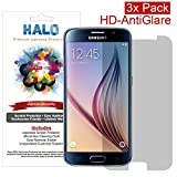Halo Screen Protector Film High Definition (HD) Matte Antiglare for Samsung Galaxy S6 (3-Pack) - Lifetime Replacement Warranty