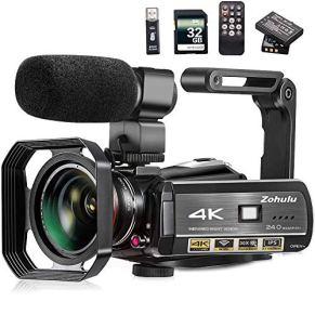 Video Camera, Zohulu 4K Camcorder WiFi Ultra HD Vlogging Camera for YouTube, 3.1'' IPS Screen 30X Digital Zoom Night…