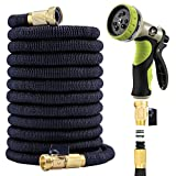 Flexible Garden Hose 50 Ft - Nozzle 9 Settings, 12 Months Warranty, 3/4' Brass Fittings. Triple Natural Latex Core, Expandable Hose For All Uses. Expands 3X, High Pressure. Flex Water Hose.