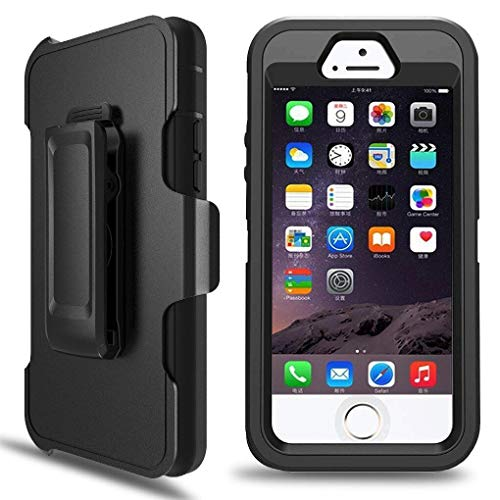 iPhone 5S Case, iPhone 5/5S/SE Defender Case with Belt Clip, Kickstand, Holster, Heavy Duty, Dropproof Shockproof Dustproof, Built-in Screen Protector Rugged Rubber Case Compatible with iPhone 5/5S/SE