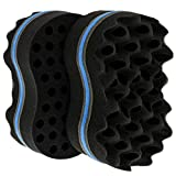Juvale 2-Pack Big Holes Hair Brush Sponge for Dreads, Twists, Waves, and Afro Curls, 7 x 4.5 x 2.5 Inches