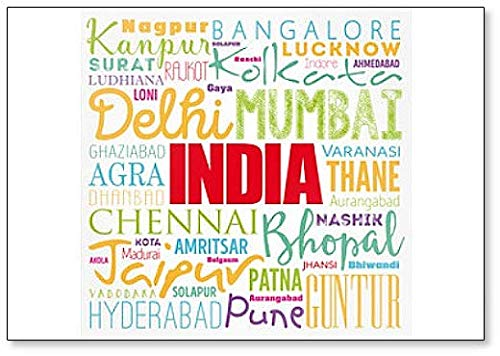 List of Cities in India Word Cloud Collage Fridge Magnet