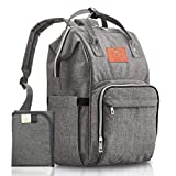 KeaBabies Backpack Diaper Bag Large - Multi-Function Waterproof Travel Baby Backpack Diaper Bag for Dad, Mom. Large Maternity Nappy Bags - Durable, Stylish - Diaper Mat Included (Gray).