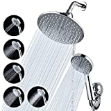 Shower Head Combo, Baban 9' Adjustable High Pressure Rainfall Showerhead & 5 Settings Handheld Shower Head Combo with Strong Suction Cup Holder/ 3-Way Water Diverter/ 1.5M Stainless Steel Hose