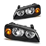 Headlight Assembly for 04-06 Hyundai Elantra Replacement Headlamp Driving Light Black Housing Amber Reflector Clear Lens (Driver and Passenger Side)